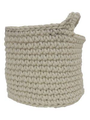 nordic ecru crochet woolen basket small