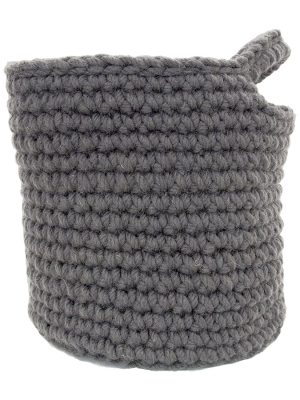 nordic grey crochet woolen basket small