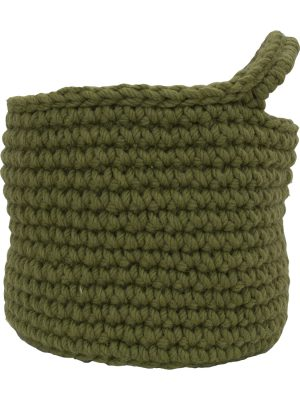 nordic olive green crochet woolen basket small