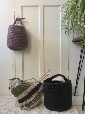 nordic violet crochet woolen basket