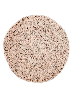 peony flamingo pink crochet cotton rug medium