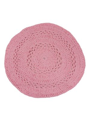 peony fluor pink crochet cotton rug medium