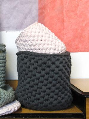 peony grey crochet cotton basket