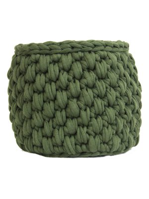 peony hunter green crochet cotton basket small