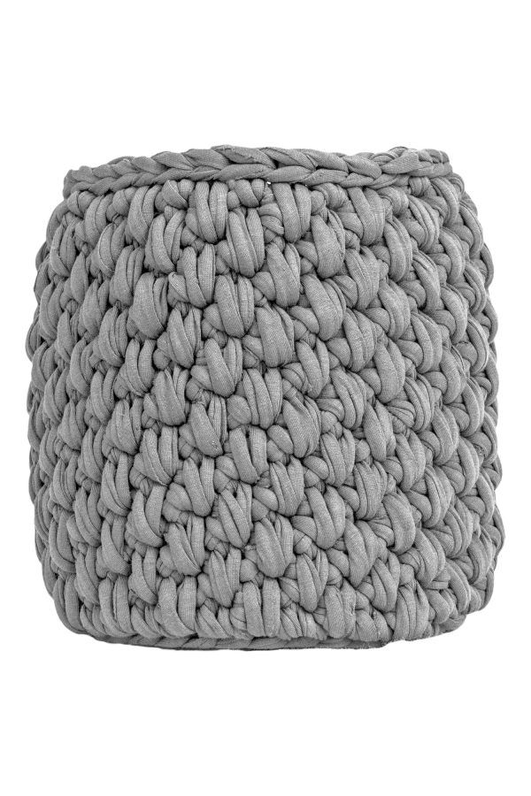 peony light grey crochet cotton basket medium