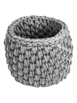 peony light grey crochet cotton basket small