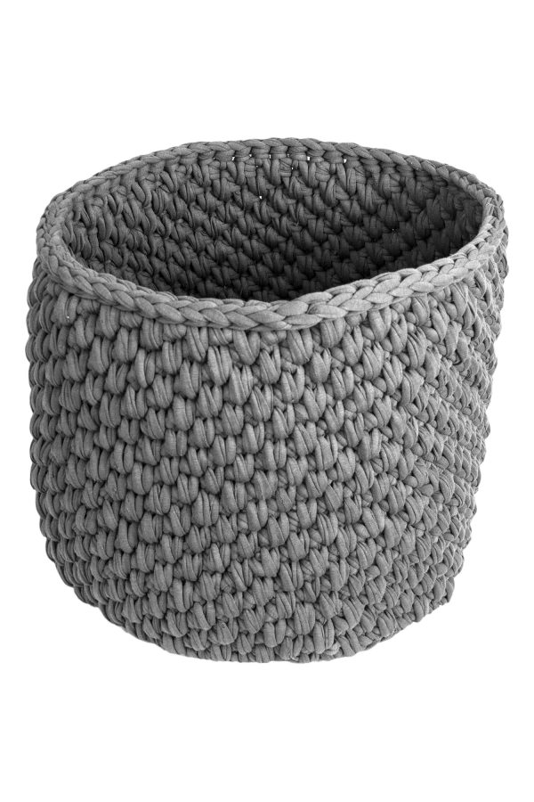 peony light grey crochet cotton basket xlarge