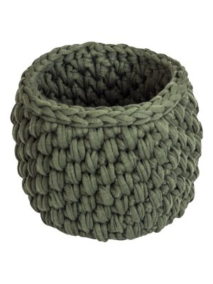 peony olive green crochet cotton basket small