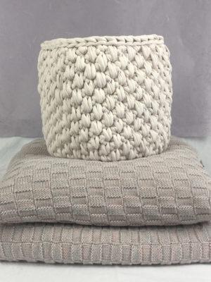 peony pink crochet cotton basket