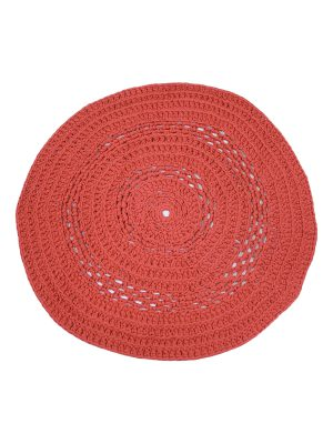 peony red coral crochet cotton rug medium