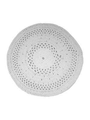 peony white crochet cotton rug medium