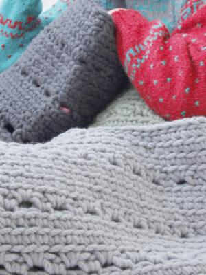 crochet woolen baskets