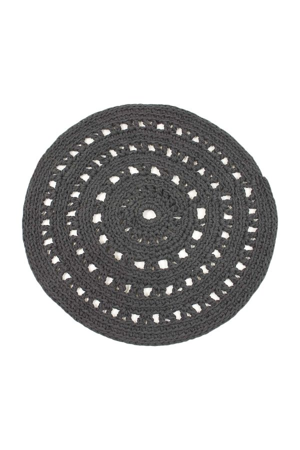 arab anthracite crochet cotton floor mat small