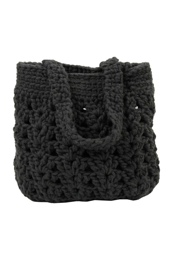 arab anthracite crochet woolen bag
