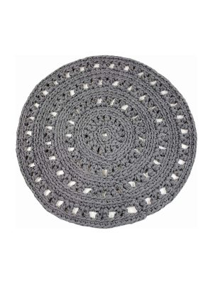 arab grey crochet cotton floor mat small