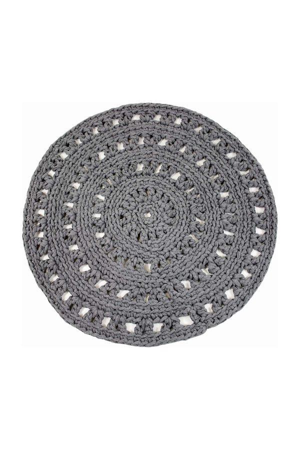 arab grey crochet cotton floor mat small