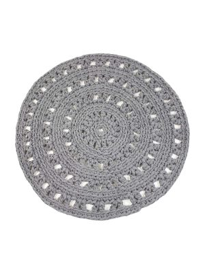 arab light grey crochet cotton floor mat small