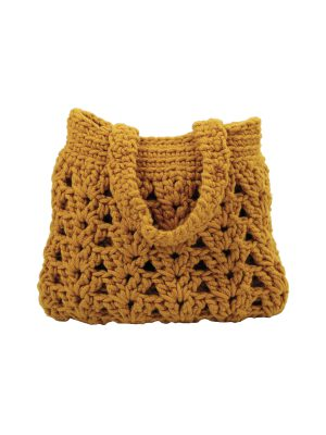 arab ochre crochet woolen bag