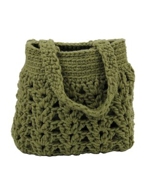 arab olive green crochet woolen bag