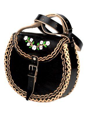 basic black leather bag large