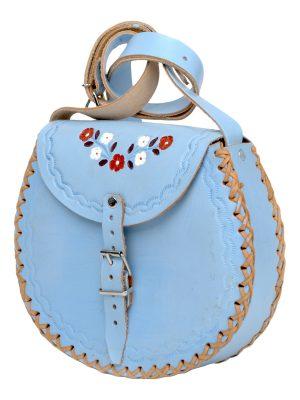 basic heavenly blue leather bag large
