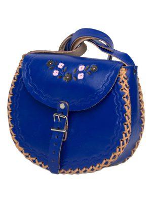 basic navy blue leather bag large