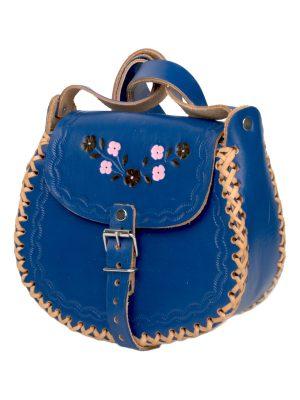 basic navy blue leather bag medium