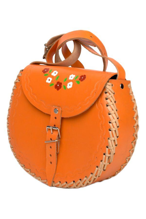 basic orange leather bag large