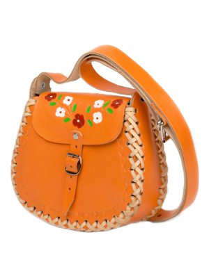 basic orange leather bag small