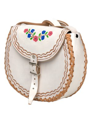 basic white leather bag large