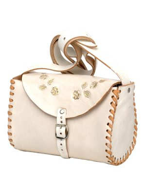 cloud white leather bag large