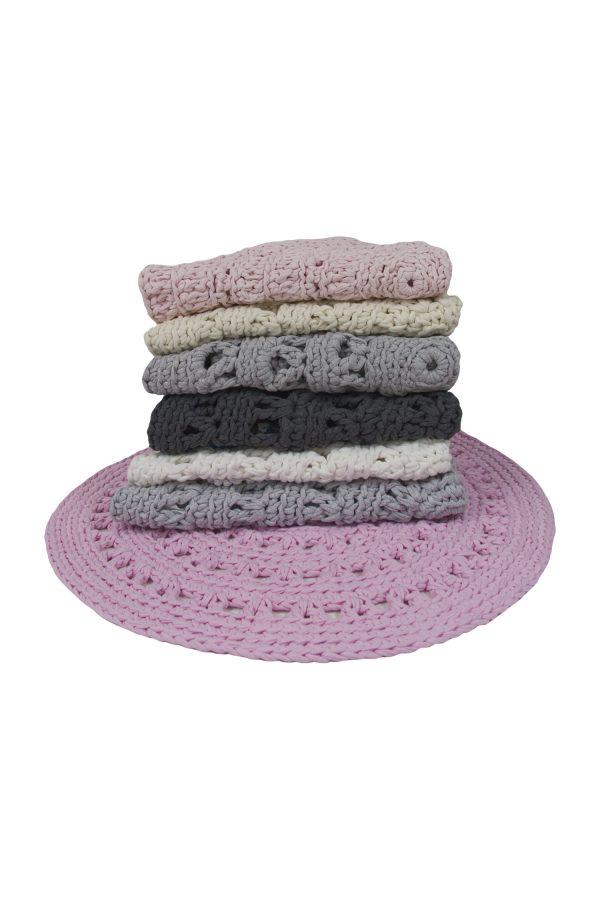 crochet cotton floor mat small