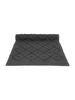diamond anthracite woven cotton floor mat small