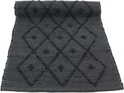 diamond black woven cotton floor mat small