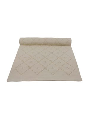 diamond ecru woven cotton floor mat small