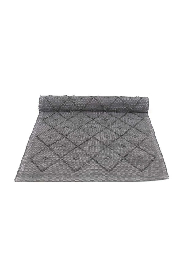 diamond grey woven cotton floor mat small
