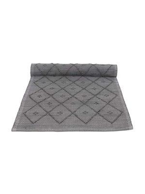 diamond grey woven cotton floor runner large