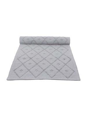 diamond light grey woven cotton floor runner large