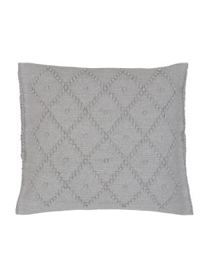 diamond light grey woven cotton pillowcase medium