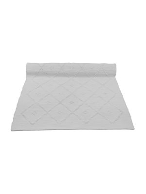 diamond white woven cotton floor mat small