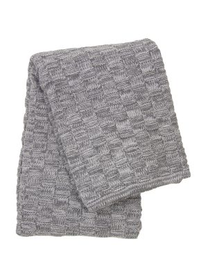 drops mêlée grey knitted cotton little blanket small