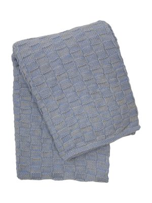 drops mêlée heavenly blue knitted cotton little blanket medium