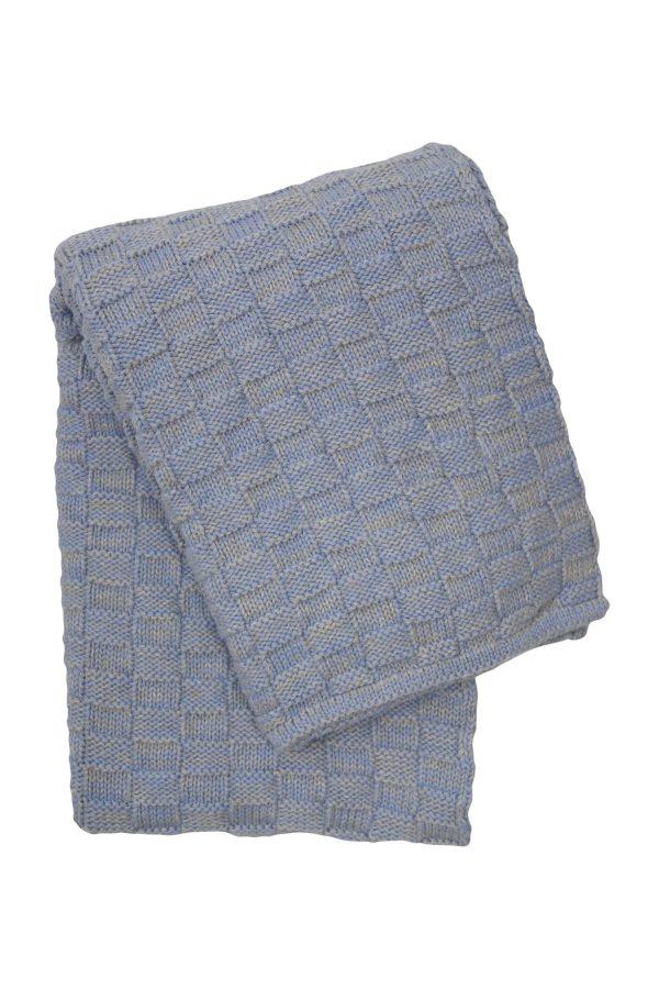 drops mêlée heavenly blue knitted cotton little blanket medium