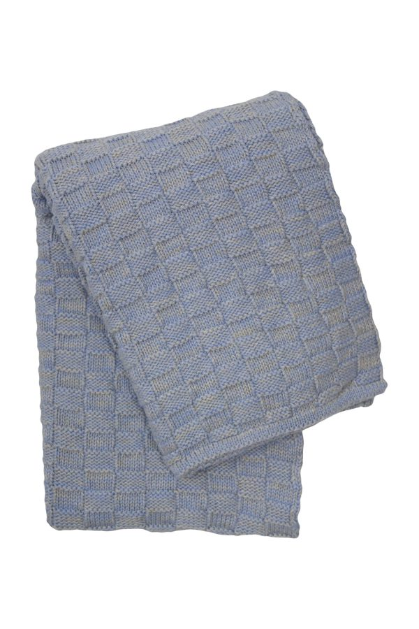 drops mêlée heavenly blue knitted cotton little blanket small