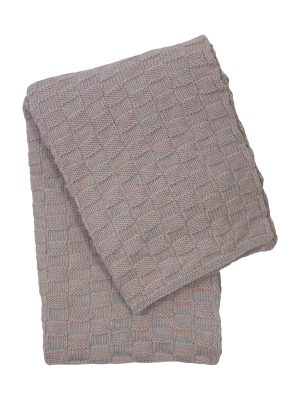 drops mêlée powder rose knitted cotton little blanket medium