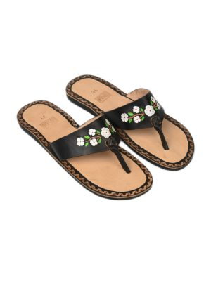 flor black leather flipflop small