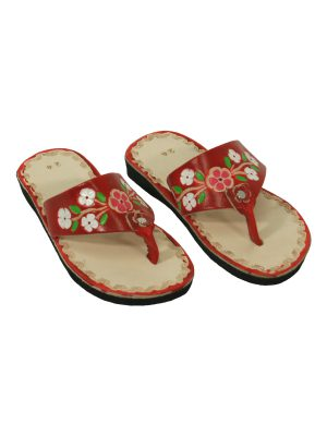 flor chillipepper leather flipflop kids xsmall