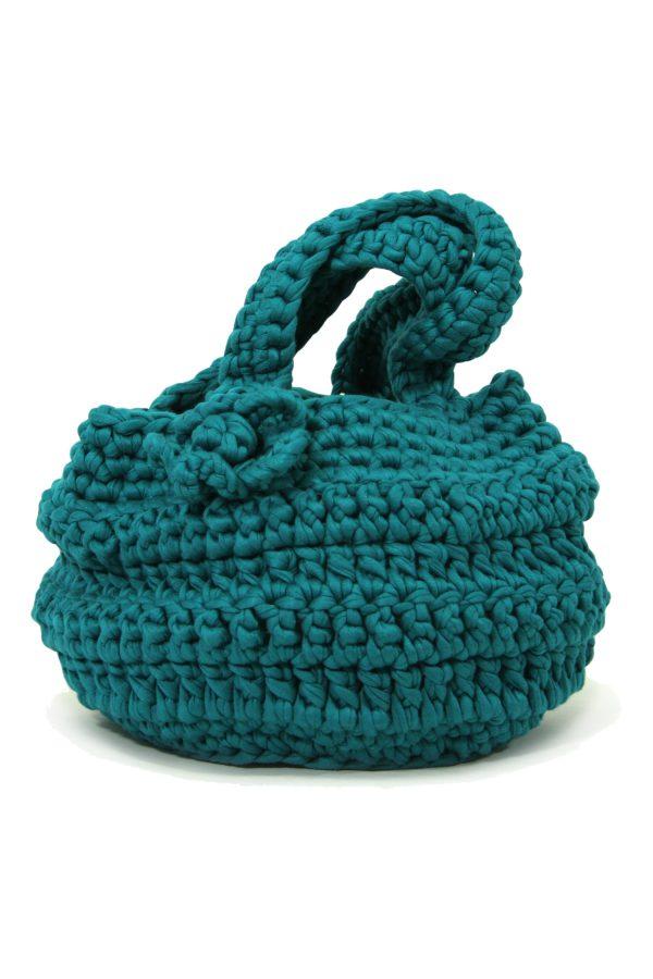 flor sea blue crochet cotton bag