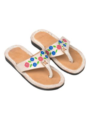 flor white leather flipflop kids xsmall