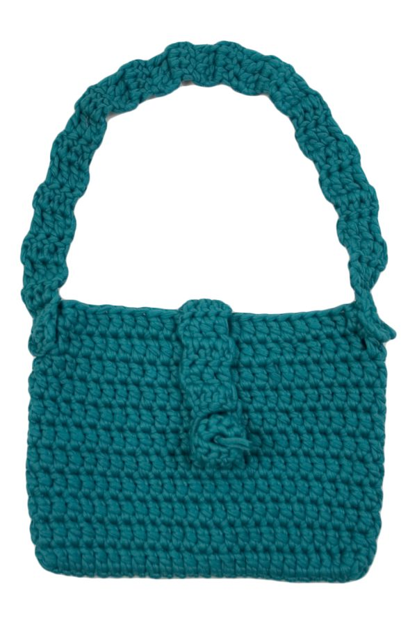 granny sea blue crochet cotton bag